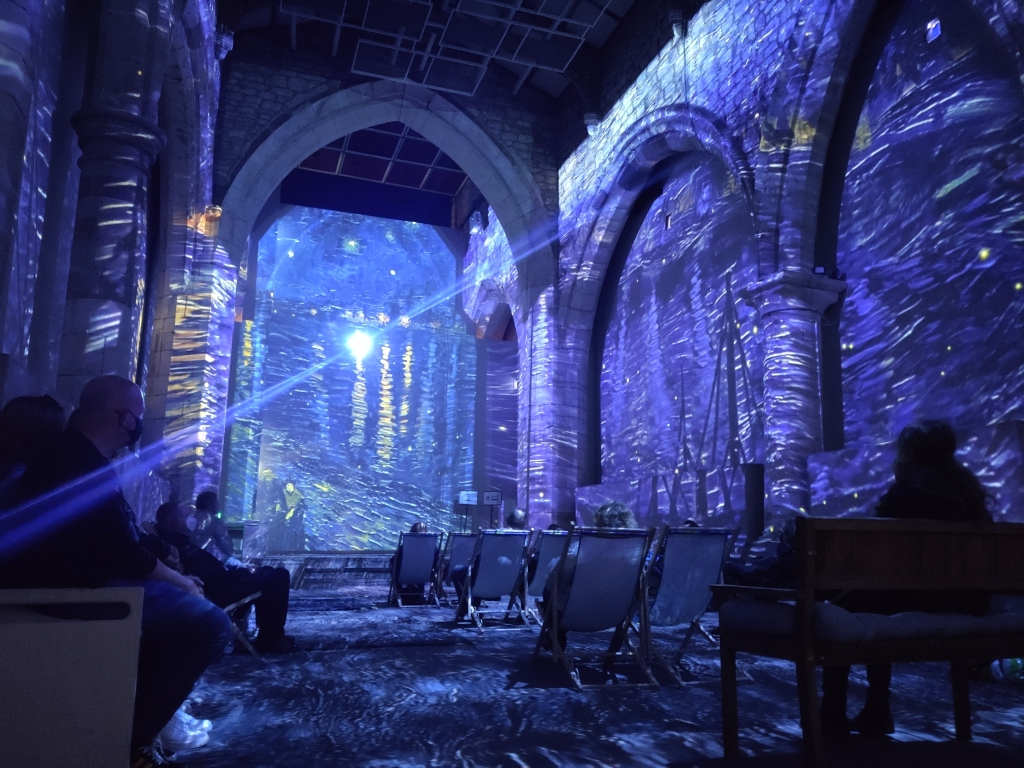 A photo from Van Gogh: The Immersive Experience depicting Van Gogh's painting Starry Night Over the Rhône